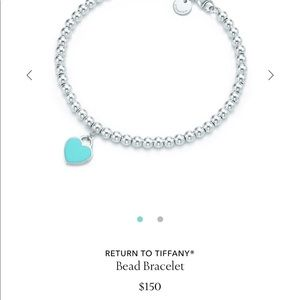 Blue heart Tiffany and co. Beaded bracelet